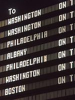 New York City train station schedule sign
