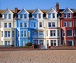 Seaside buildings along the front, Aldeburgh, Suffolk, England