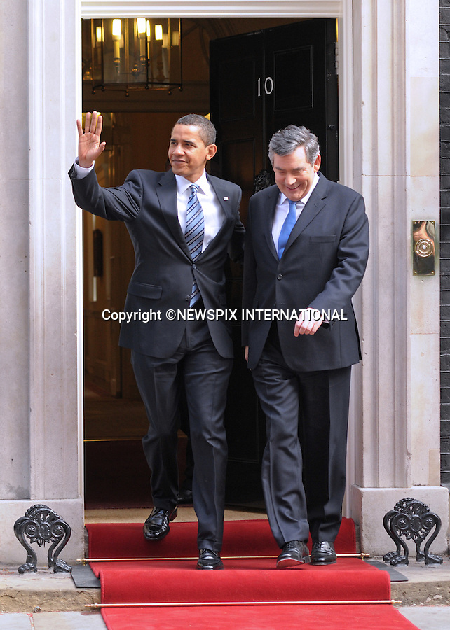 PRESIDENT BARACK OBAMA AND PRIME MINISTER GORDON BROWN.at No.10 Downing Street, London_01/04/2009.Prime Minister Gordon Brown looked a worried man for most of the time..The Obamas are in  London for the G20 Summit.PHOTO CREDIT MANDATORY: ©Dias/NEWSPIX INTERNATIONAL  .(Failure to by-line the photograph will result in an additional 100% reproduction fee surcharge)..            *** ALL FEES PAYABLE TO: NEWSPIX INTERNATIONAL ***..IMMEDIATE CONFIRMATION OF USAGE REQUIRED:Tel:+441279 324672..Newspix International, 31 Chinnery Hill, Bishop's Stortford, ENGLAND CM23 3PS.Tel: +441279 324672.Fax: +441279 656877.Mobile: +447775681153.e-mail: info@newspixinternational.co.uk
