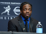 New York, NY - December 13, 2014: University of Wisconsin running back, and Heisman Trophy finalist, Melvin Gordon speaks during a news conference at the New York Marriott Marquis, December 13, 2014, before the announcement of Heisman winner. (Photo by Don Baxter/Media Images International)