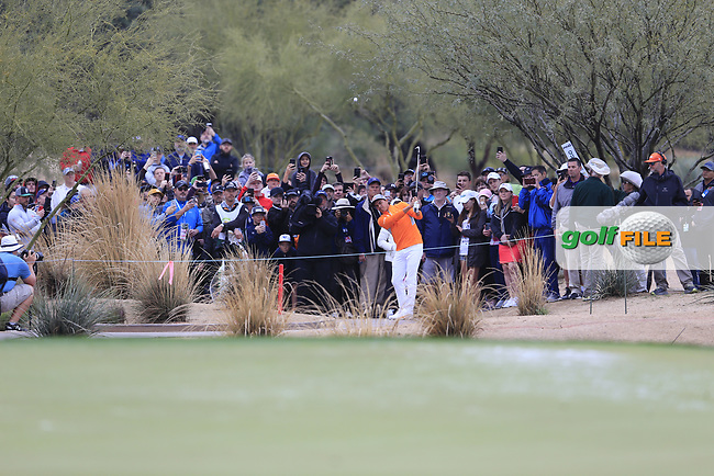 Rickie Fowler (USA) playing off the path on the 3rd during the final round of the Waste Management Phoenix Open, TPC Scottsdale, Scottsdale, Arisona, USA. 03/02/2019.<br /> Picture Fran Caffrey / Golffile.ie<br /> <br /> All photo usage must carry mandatory copyright credit (© Golffile | Fran Caffrey)