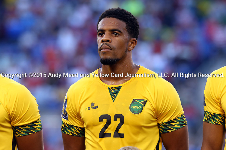 18 July 2015: Garath McClearly (JAM). The Jamaica Men's National Team played the Haiti Men's National Team at M&T Bank Stadium in Baltimore, Maryland in a 2015 CONCACAF Gold Cup quarterfinal match. Jamaica won the game 1-0.