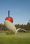 Minnesota, Twin Cities, Minneapolis-Saint Paul: Sculpture Spoonbridge and Cherry by Claes Oldenburg at the Minnesota Sculpture Garden next to the Walker Art Center..Photo mnqual213-75117..Photo copyright Lee Foster, www.fostertravel.com, 510-549-2202, lee@fostertravel.com.