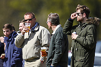 Former Premier League referee, Graham Poll (3rd right), enjoys a pint of larger while watching the Bedfordshire County Football League match between Ampthill Town U18 and Renhold United Reserves at Shefford Sports Club, Shefford, England on 30 April 2016. Photo by David HornPRiME Media Images.