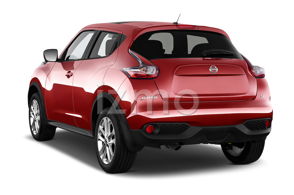 Car pictures of rear three quarter view of a 2015 Nissan Juke Acenta 5 Door Suv Angular Rear