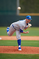 Central Connecticut State Blue Devils starting pitcher Andrew Hinckley (23) delivers a pitch during a game against the North Dakota State Bison on February 23, 2018 at North Charlotte Regional Park in Port Charlotte, Florida.  North Dakota State defeated Connecticut State 2-0.  (Mike Janes/Four Seam Images)