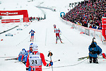 HOLMENKOLLEN, OSLO, NORWAY - March 16: Athletes finishing the Men 50 km mass start, free technique, at the FIS Cross Country World Cup on March 16, 2013 in Oslo, Norway. (Photo by Dirk Markgraf)
