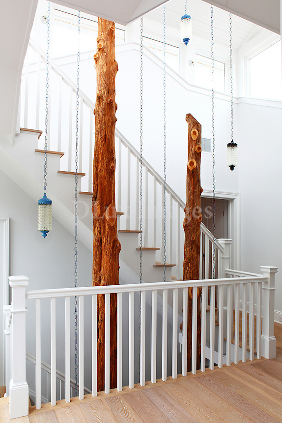 wooden staircase with modern decorations