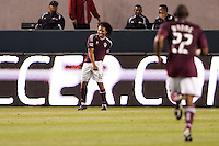 Colorado Rapids rookie forward Quincy Amarikwa (12) begins the dance of goal scorers after scoring the games first goal. The Colorado Rapids defeated CD Chivas USA 1-0 at Home Depot Center stadium in Carson, California on Saturday March 26, 2011...