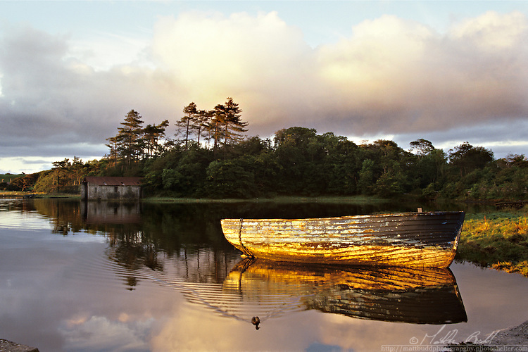 Evening sun on Carrowbeg River, Westport, Mayo, Ireland