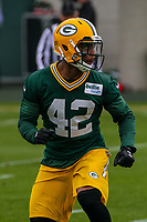 Green Bay Packers safety Morgan Burnett (42) during an Organized Team Activity on May 23, 2017 at Clarke Hinkle Field in Green Bay, Wisconsin.  (Brad Krause/Krause Sports Photography)