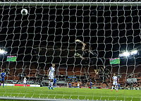 HOUSTON, TX - JANUARY 31: Maria Bermudez #1 of Costa Rica deflects a shot into the cross bar for a save during a game between Haiti and Costa Rica at BBVA Stadium on January 31, 2020 in Houston, Texas.