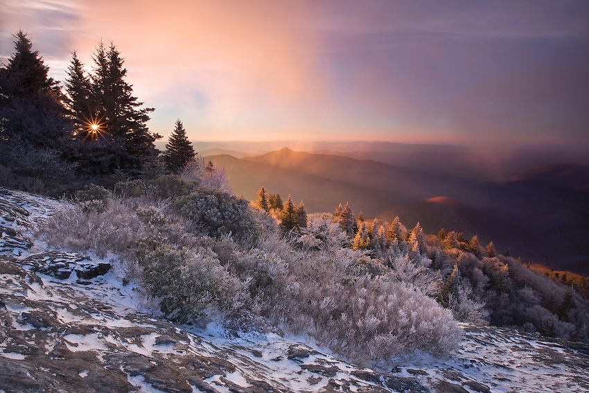 """FIRST LIGHT"" - A winter sunrise from the summit of Devils Courthouse along the Blue Ridge Parkway."
