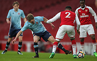 Blackpool U18's Finn Sinclair-Smith vies for possession with Arsenal U18's Vontae Daley-Campbell<br /> <br /> Photographer Andrew Kearns/CameraSport<br /> <br /> Emirates FA Youth Cup Semi- Final Second Leg - Arsenal U18 v Blackpool U18 - Monday 16th April 2018 - Emirates Stadium - London<br />  <br /> World Copyright &copy; 2018 CameraSport. All rights reserved. 43 Linden Ave. Countesthorpe. Leicester. England. LE8 5PG - Tel: +44 (0) 116 277 4147 - admin@camerasport.com - www.camerasport.com