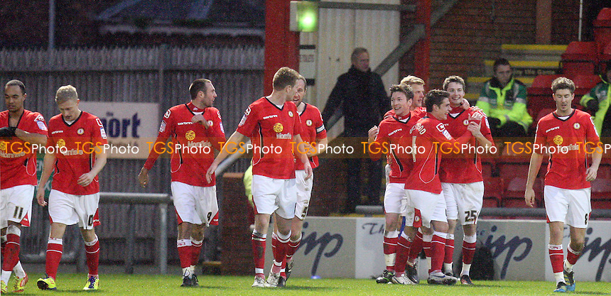Nick Powell of Crewe (25)  is congratulated for scoring the fourth goal -  Crewe vs Dagenham - at the Gresley Road Stadium - 21/01/12 - MANDATORY CREDIT: Dave Simpson/TGSPHOTO - Self billing applies where appropriate - 0845 094 6026 - contact@tgsphoto.co.uk - NO UNPAID USE.