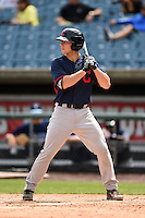 Bradley Debo (13) of Orange High School in Durham, North Carolina playing for the Cleveland Indians scout team during the East Coast Pro Showcase on July 31, 2014 at NBT Bank Stadium in Syracuse, New York.  (Mike Janes/Four Seam Images)
