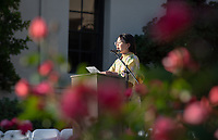 Student speaker Yumi Kobayashi '19. Graduating seniors, family, faculty and staff gather for the Asian Pacific Islander Graduation Celebration in the Academic Quad and steps between Johnson and Fowler Halls on Friday, May 17, 2019.<br />
