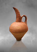 Hittite terra cotta beak spout pitcher. Hittite Old Period, 1650 - 1450 BC.  Hattusa Boğazkale. Çorum Archaeological Museum, Corum, Turkey. Against a grey bacground.