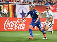 20170721 - TILBURG , NETHERLANDS : German Isabel Kerschowski (L) and Italian Melania Gabbiadini (L)  pictured during the female soccer game between Germany and Italy  , the second game in group B at the Women's Euro 2017 , European Championship in The Netherlands 2017 , Friday 21 th June 2017 at Stadion Koning Willem II  in Tilburg , The Netherlands PHOTO SPORTPIX.BE | DIRK VUYLSTEKE
