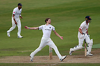 George Garrett in bowling action for Warwickshire during Warwickshire CCC vs Essex CCC, Specsavers County Championship Division 1 Cricket at Edgbaston Stadium on 12th September 2019