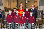 Lixnaw boys school confirmation classes of fifth and sixth class with their Principal/Teacher Mr John McAuliffe in St. Michael's Church, Lixnaw by the Bishop of Kerry Ray Browne on Tuesday
