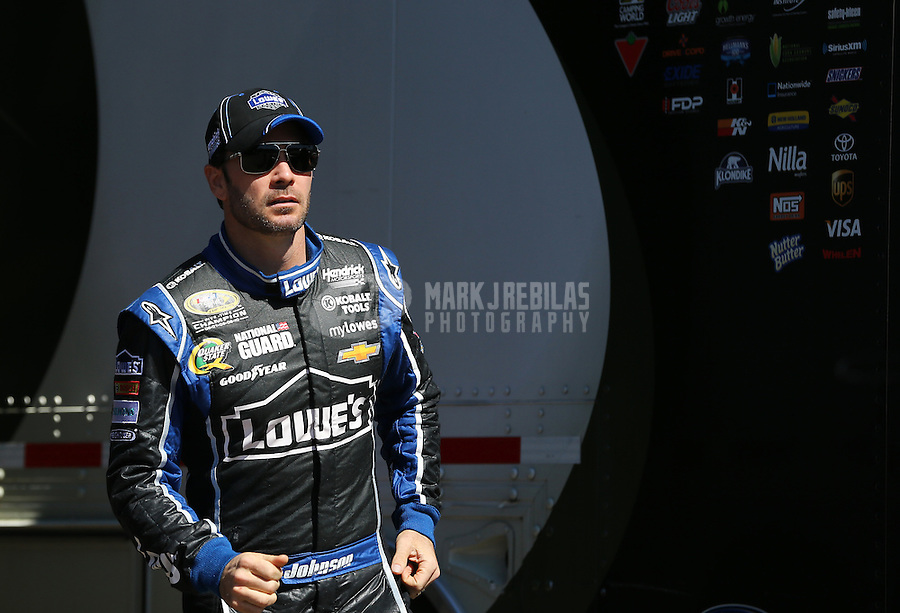 Mar. 1, 2013; Avondale, AZ, USA; NASCAR Sprint Cup Series driver Jimmie Johnson during practice for the Subway Fresh Fit 500 at Phoenix International Raceway. Mandatory Credit: Mark J. Rebilas-