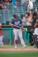 Juniel Querecuto (10) of the Reno Aces bats against the Salt Lake Bees at Smith's Ballpark on June 27, 2019 in Salt Lake City, Utah. The Aces defeated the Bees 10-6. (Stephen Smith/Four Seam Images)