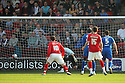 Andy Butler of Walsall (out of picture) scores their first goal. - Walsall v Stevenage - npower League 1 - Banks's Stadium, Walsall - 24th March, 2012  .© Kevin Coleman 2012