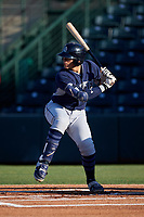 AZL Padres 1 Tirso Ornelas (14) at bat during an Arizona League game against the AZL Angels on July 16, 2019 at Tempe Diablo Stadium in Tempe, Arizona. The AZL Padres 1 defeated the AZL Angels 3-1. (Zachary Lucy/Four Seam Images)
