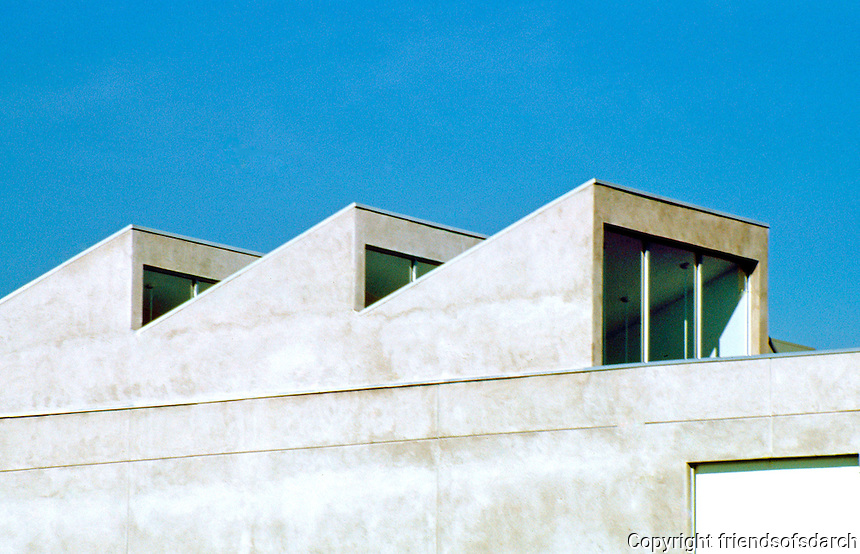Frank Gehry: ICS/ERF Complex, Irvine. Detail--ERF using the still perfectly functional sawtooth roofline of WWII.  Photo '86.