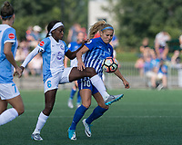 Allston, MA - Saturday August 19, 2017: Chioma Ubogagu, Rosie White during a regular season National Women's Soccer League (NWSL) match between the Boston Breakers (blue) and the Orlando Pride (white/light blue) at Jordan Field.