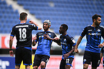 Jubel ueber das 1:1: v.l. Torschuetze Dennis Srbeny (SC Paderborn), Klaus Gjasula (SC Paderborn), Christopher Antwi-Adjei (SC Paderborn), Sebastian Vasiliadis (SC Paderborn)<br />