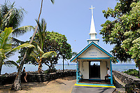 "The tiny Catholic church officially called ""Saint Peter's by the Sea"". Built in 1880 on La'aloa bay,it was moved to its present location, on Kahalu'u bay, in 1912. It is commonly known as ""the little blue church"", and is a popular landmark of the area. Kona, Big Island, Hawaii RIGHTS MANAGED LICENSE AVAILABLE FROM www.PhotoLibrary.com"