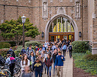 Oct. 14, 2015; Students exit Jordan Hall of Science (Photo by Matt Cashore/University of Notre Dame)