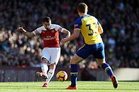 Matt Targett of Southampton and Henrikh Mkhitaryan of Arsenal during Arsenal vs Southampton, Premier League Football at the Emirates Stadium on 24th February 2019
