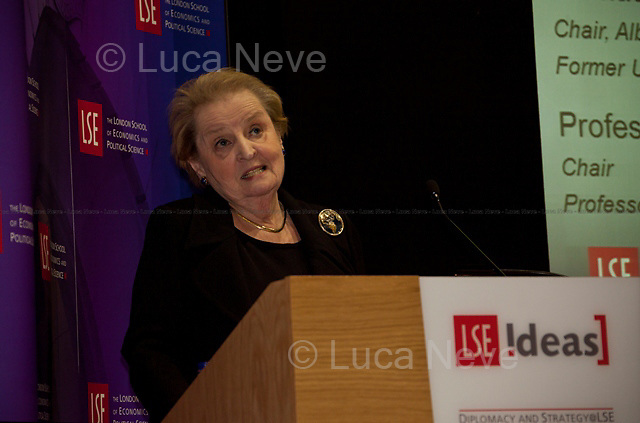 Madeleine Korbel Albright (former and first woman to be United States Secretary of State). <br /> <br /> London, 02/12/2011. Today LSE (London School of Economics) presented a public lecture called &quot;Global Political Challenges: Women Advancing Democracy&quot; hosted by the former and first woman to be United States Secretary of State, Madeleine Korbel Albright. Chair of the event was Karen Smith (Professor of International Relations and Director of the European Foreign Policy Unit at LSE).