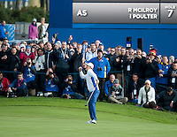 27.09.2014. Gleneagles, Auchterarder, Perthshire, Scotland.  The Ryder Cup, Day 2.  Justin Rose (EUR) celebrates a winning putt on the 11th green. Saturday Fourballs.