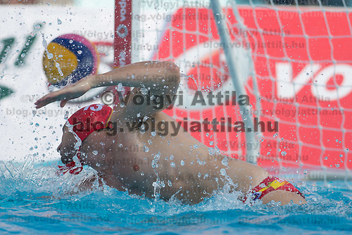 Goalkeeper James Clark of Australia jumps to save a goal during the Vodafone Waterpolo Cup in Budapest, Hungary on July 15, 2012. ATTILA VOLGYI