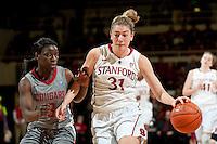 STANFORD, CA-JANUARY 18, 2012 - Toni Kokenis drives the lane in the first half against the Washington State Cougars.