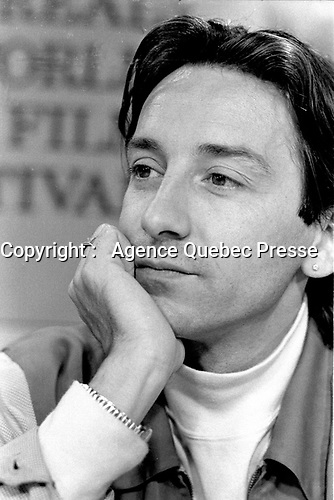 Montreal - Canada - File Photo -  Jean-Hugues Anglade and Alain Corneau news conference for NOCTURE INDIEN, at the World Film Festival, August 27, 1989.<br /> <br /> Photo : Agence Quebec Presse - Pierre Roussel