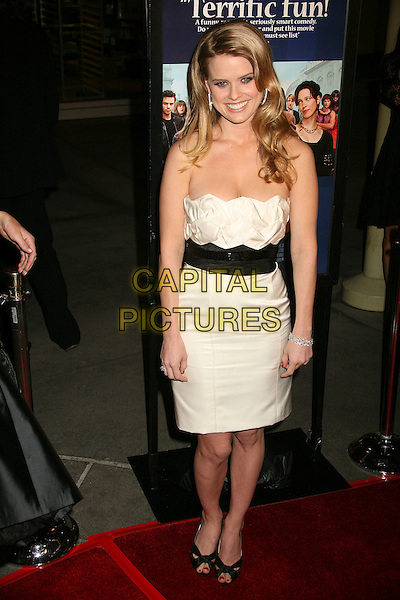 """ALICE EVE.""""Starter For 10"""" Los Angeles Premiere at ArcLight Cinemas, Hollywood, California, USA..February 6th, 2007.full length black white belt strapless dress.CAP/ADM/BP.©Byron Purvis/AdMedia/Capital Pictures"""
