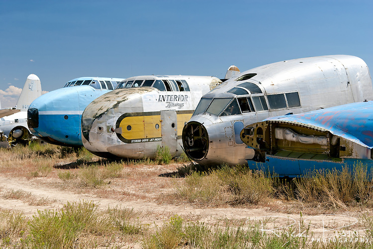 The nose section of a pair of C-82 Packets and a C-119 Flying Boxcar sit Hawkins &amp; Powers back lot in Greybull, Wyoming.<br /> <br /> Hawkins and Powers was founded in 1969 by Dan Hawkins and Gene Powers. H&amp;P shut their doors at the end of 2005 and auctioned off their assets to satisfy nearly $15 million that it owed to creditors.