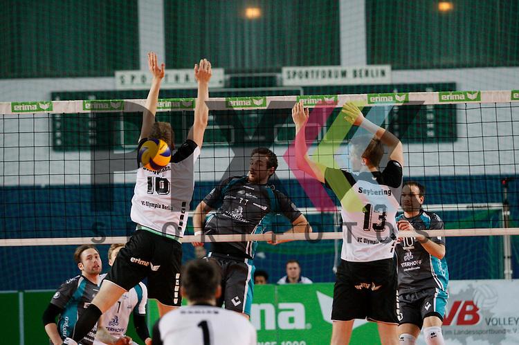 v. l. Berlins Timon Schippmann (Nr. 16) , Duerens Davic Meder (Nr. 11) , Berlins David Seybering (Nr. 13) , Duerens Matthias Pompe (Nr. 10) <br /> <br /> 20.02.14 Volleyball, 1. Bundesliga, Maenner, Saison 2014/15, VCO Berlin - SWD Powervolleys Dueren<br /> <br /> <br /> Foto &copy; PIX *** Foto ist honorarpflichtig! *** Auf Anfrage in hoeherer Qualitaet/Aufloesung. Belegexemplar erbeten. Veroeffentlichung ausschliesslich fuer journalistisch-publizistische Zwecke. For editorial use only.