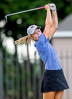 NWA Democrat-Gazette/JASON IVESTER <br /> Rogers High junior Brooke Matthews hits from the second tee on Monday, Aug. 17, 2015, against Rogers Heritage at Lost Springs Golf Course in Rogers.