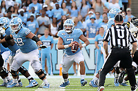 CHAPEL HILL, NC - SEPTEMBER 21: Sam Howell #7 of the University of North Carolina scrambles with the ball during a game between Appalachian State University and University of North Carolina at Kenan Memorial Stadium on September 21, 2019 in Chapel Hill, North Carolina.