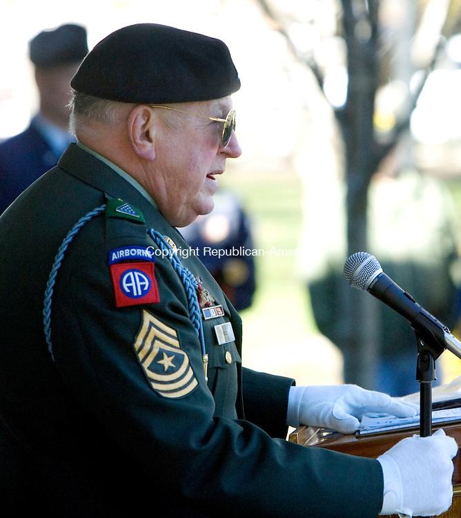 TORRINGTON, CT. 11 November 2010-111110SV07--Sgt. Major Len Dube, veteran&rsquo;s service officer for Torrington, speaks during the Veterans Day ceremonies in Torrington Thursday.<br /> Steven Valenti Republican-American