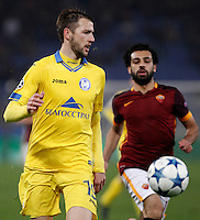 Calcio, Champions League: Gruppo E - Roma vs Bate Borisov. Roma, stadio Olimpico, 9 dicembre 2015.<br /> Bate Borisov's Nemanja Milunovic in action during the Champions League Group E football match between Roma and Bate Borisov at Rome's Olympic stadium, 9 December 2015.<br /> UPDATE IMAGES PRESS/Isabella Bonotto