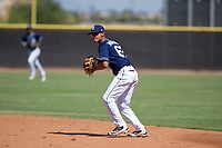 San Diego Padres second baseman Tucupita Marcano (67) prepares to make a throw to first base during an Instructional League game against the Texas Rangers on September 20, 2017 at Peoria Sports Complex in Peoria, Arizona. (Zachary Lucy/Four Seam Images)