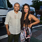 MIAMI, FL - JULY 25: City of Miami Commissioner Keon Hardemon and Mýa backstage during the Overtown Music and Arts Festival at the historic Overtown district of Miami on Saturday July 25, 2015 in Miami, Florida. ( Photo by Johnny Louis / jlnphotography.com )