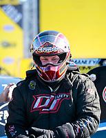 Nov 17, 2019; Pomona, CA, USA; NHRA funny car driver Steven Densham during the Auto Club Finals at Auto Club Raceway at Pomona. Mandatory Credit: Mark J. Rebilas-USA TODAY Sports